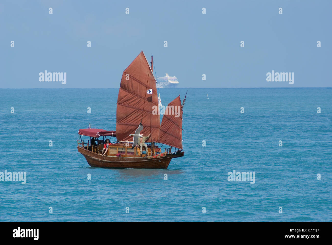 Chinese brown junk in Mediterranean sea during 'les regates royales' , a sailing event occuring every year in September in French riviera - Stock Image