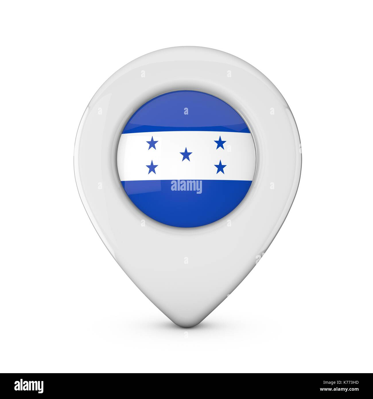 Honduras flag location marker icon. 3D Rendering Stock Photo