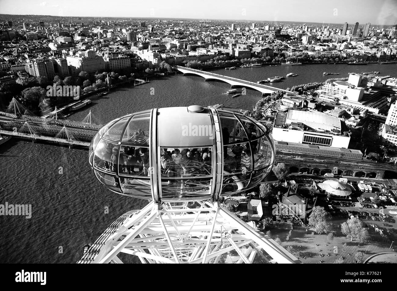 The River Thames and London Eye viewed from the London Eye. - Stock Image