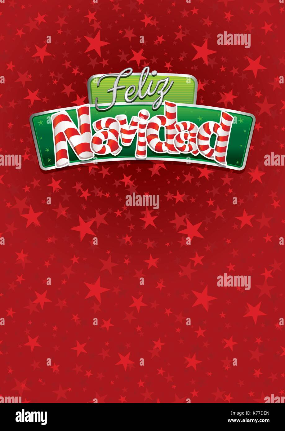 Feliz Navidad Merry Christmas In Spanish Language Red Cover Of