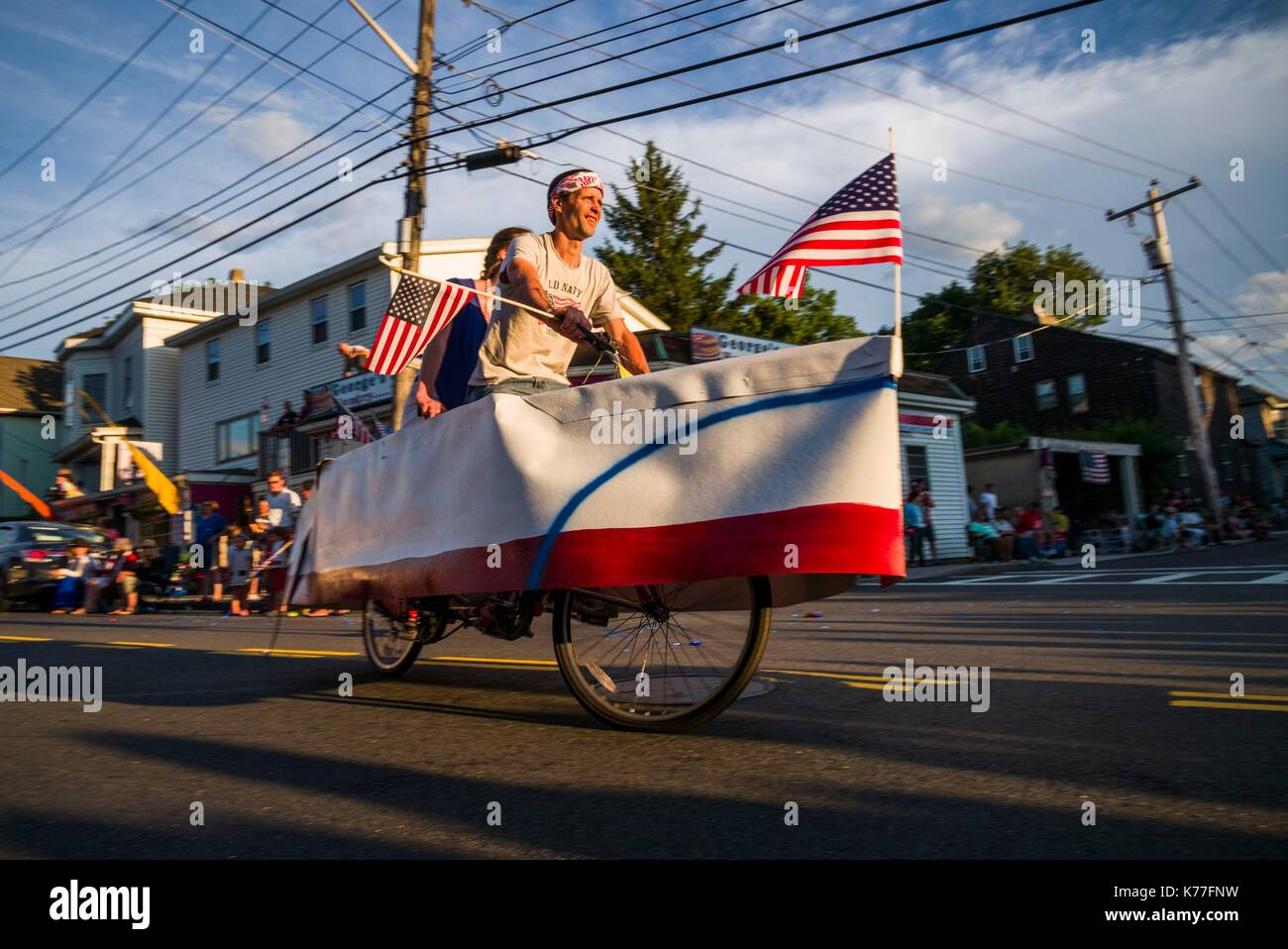 United States, Massachusetts, Cape Ann, Gloucester, Fourth of July Parade, boat-shaped bicycle Stock Photo
