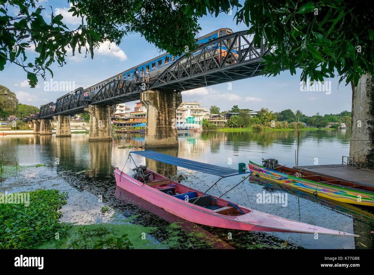 Thailand, Kanchanaburi province, Kanchanaburi, where the Khwae Noi and Khwae Yai Rivers converge, the Burma-Siam Railway or Death Railway, bridge over the Khwae river - Stock Image