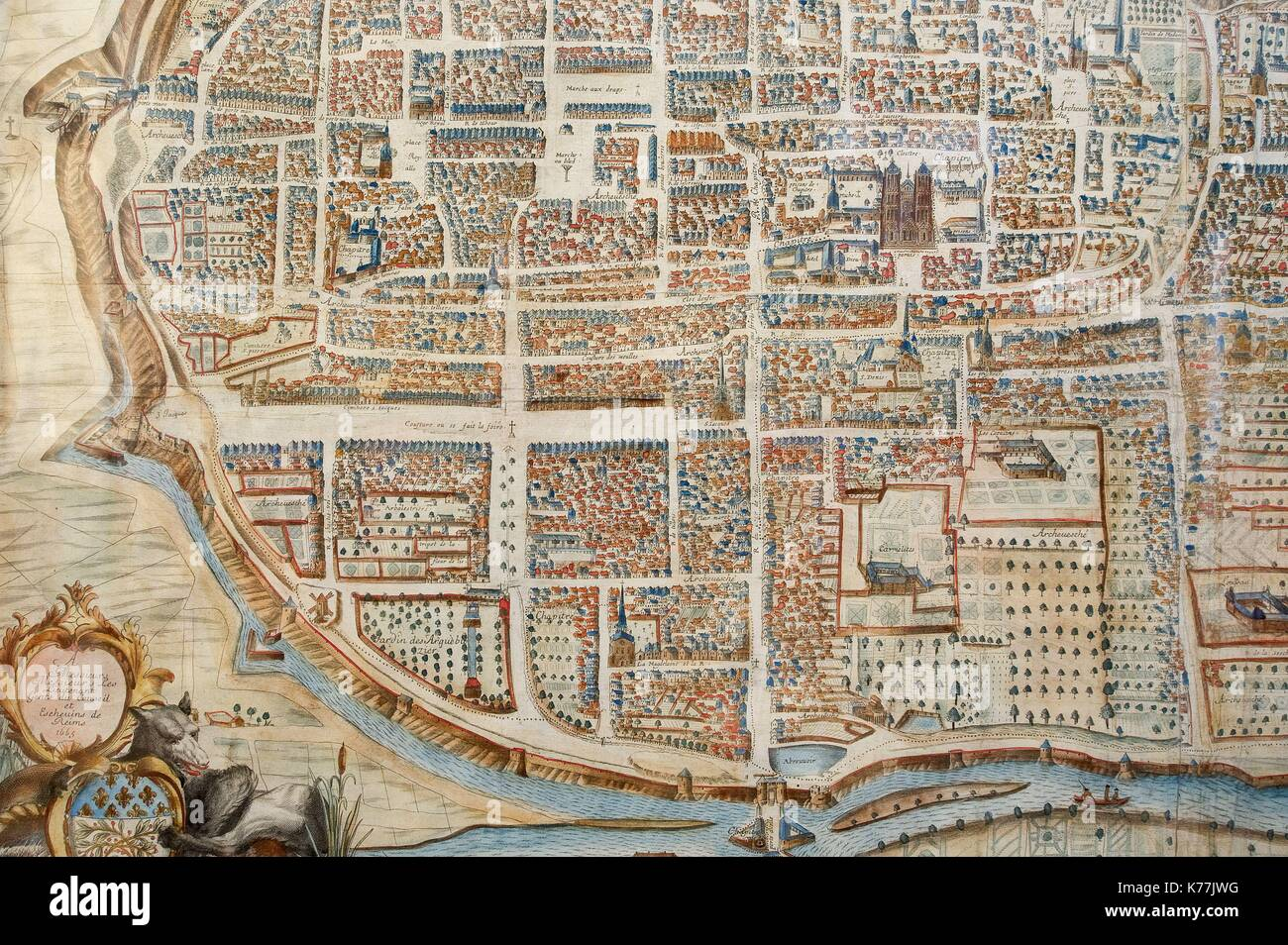 France, Marne, Reims, 17th century old reims map Stock Photo ...