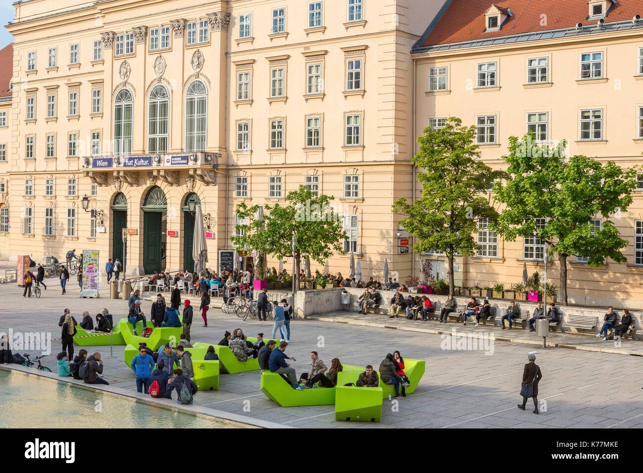 Austria, Vienna, MuseumsQuartier (MQ) located in the former stables of the Imperial Court opened in 2001 is a space Stock Photo