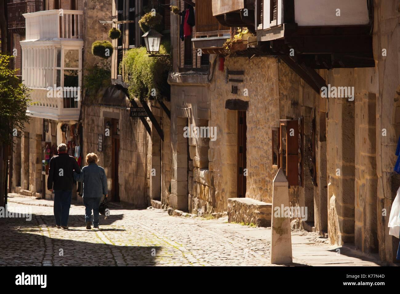 Spain, Cantabria Region, Cantabria Province, Santillana del Mar, tourists in midieval town, Stock Photo