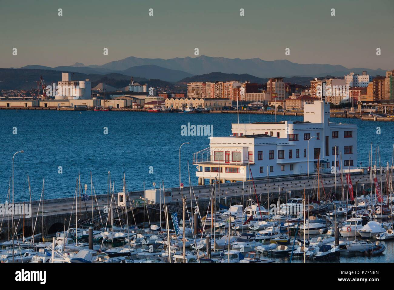 Spain, Cantabria Region, Cantabria Province, Santander, elevated view of the harborfront Stock Photo