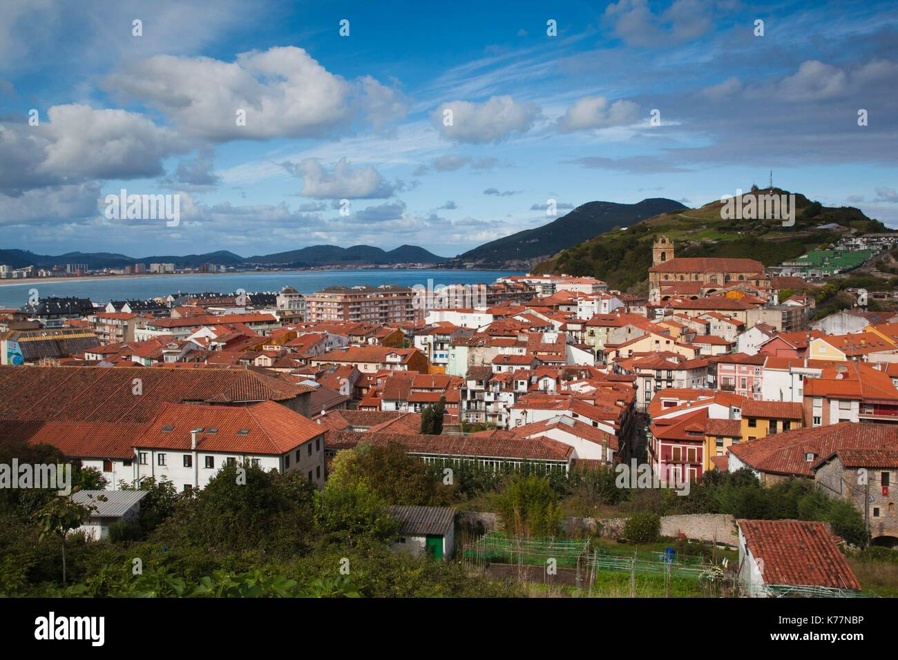 Spain, Cantabria Region, Cantabria Province, Laredo, elevated view of old town Stock Photo