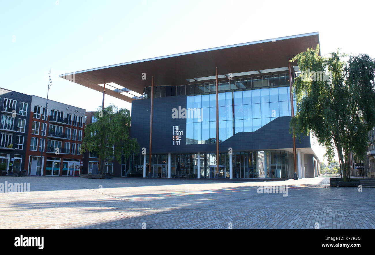 New Frisian Museum (Frysk Museum) building at Wilhelminaplein (also Zaailand) square in Leeuwarden, The Netherlands, opened in 2013. - Stock Image