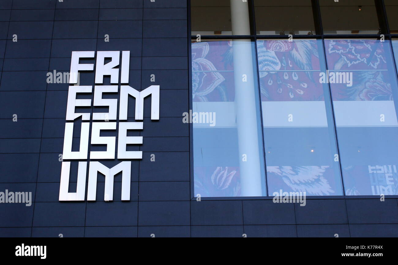 Logo of the New Frisian Museum (Frysk Museum) building at Wilhelminaplein (also Zaailand) square in Leeuwarden, The Netherlands, opened in 2013. - Stock Image