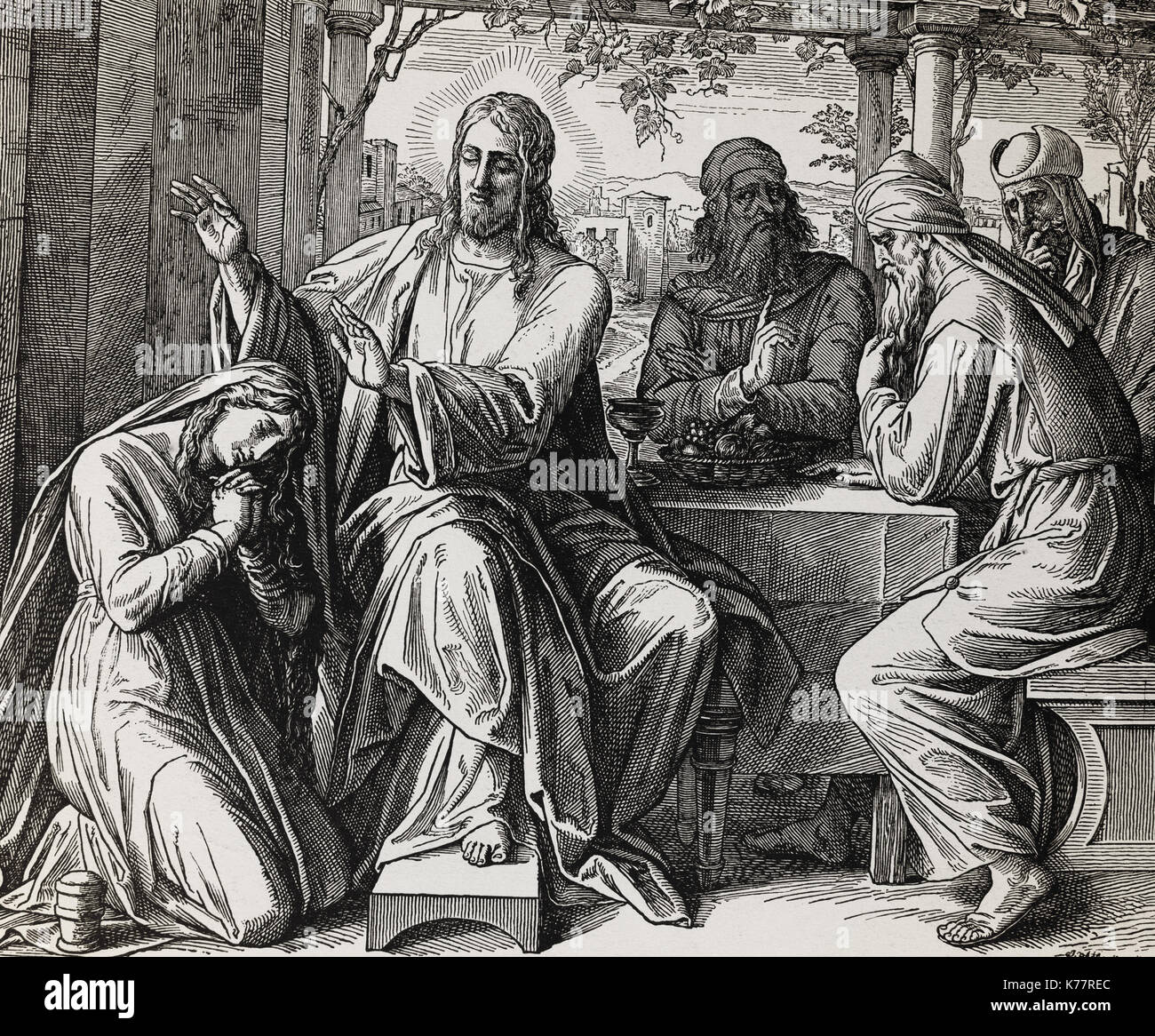 Jesus giving blessing, love and forgiveness to a woman, graphic collage from engraving of Nazareene School, published in The Holy Bible, St.Vojtech Publishing, Trnava, Slovakia, 1937. - Stock Image