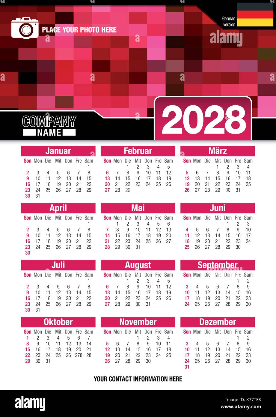 Useful wall calendar 2028 with design of red colors mosaic. Format A4 vertical. Size: 210mm x 297mm. German version Stock Vector
