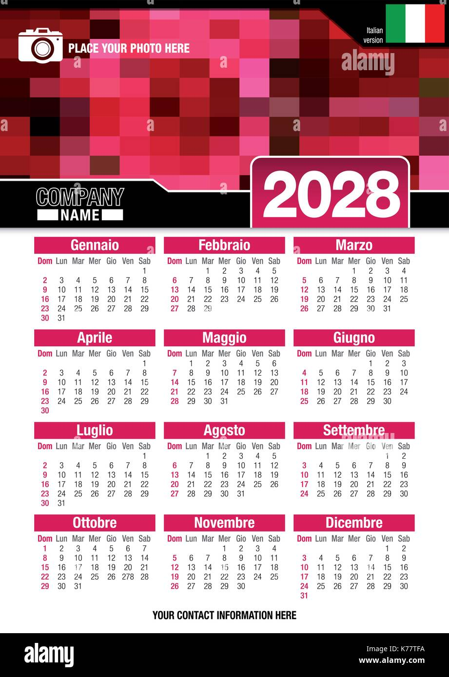 Useful wall calendar 2028 with design of red colors mosaic. Format A4 vertical. Size: 210mm x 297mm. Italian version Stock Vector
