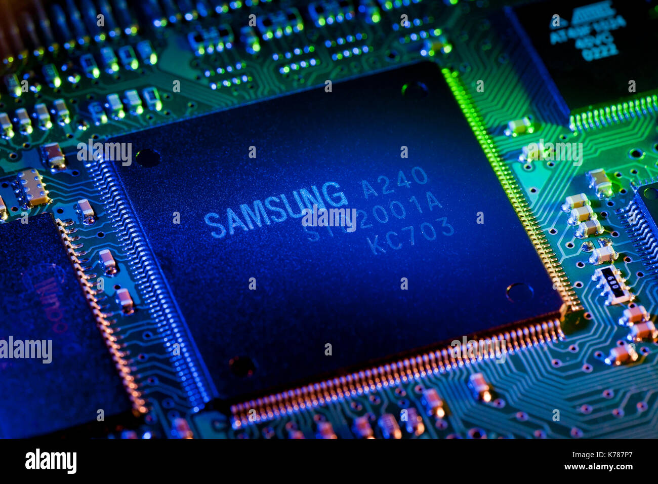 Samsung SID2001A CPU on hard disk drive control board - Stock Image