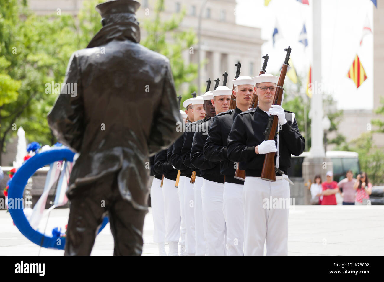 Navy ceremonial guard sailors full honors ceremony at the US Navy Memorial - Washington, DC USA - Stock Image