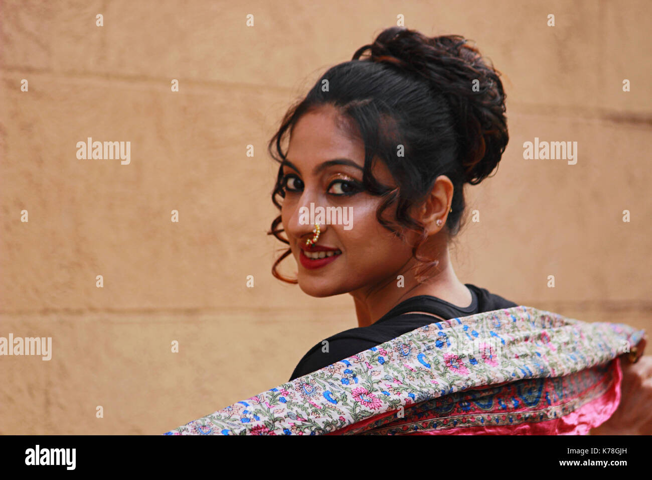Close Up Of Indian Woman With Nose Ring Stock Photo 159384585 Alamy