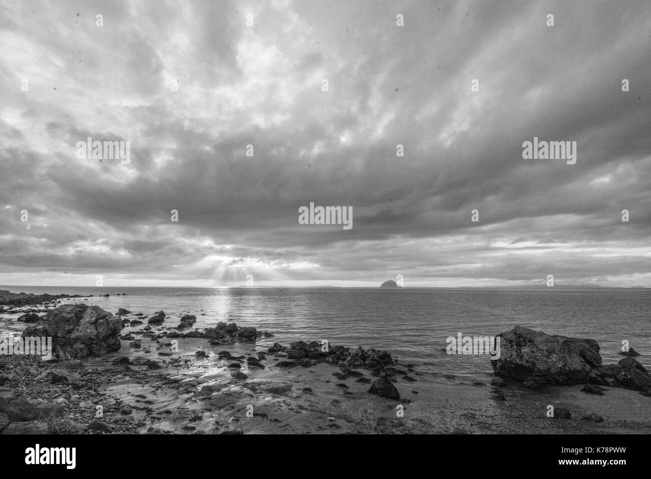 Seascape views over the beach and sea at Lendalfoot near Girvan, Scotland - Stock Image
