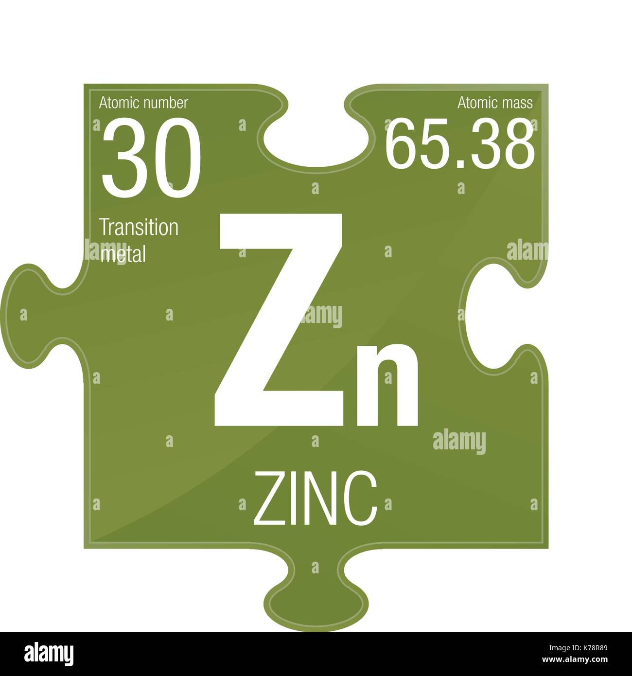 zinc symbol element number 30 of the periodic table of the elements chemistry puzzle piece with green background