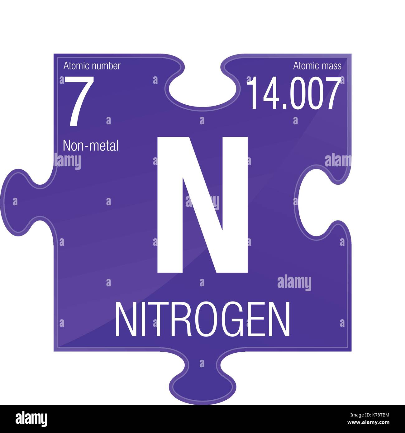 element number 7 of the periodic table of the elements chemistry puzzle piece with violet background