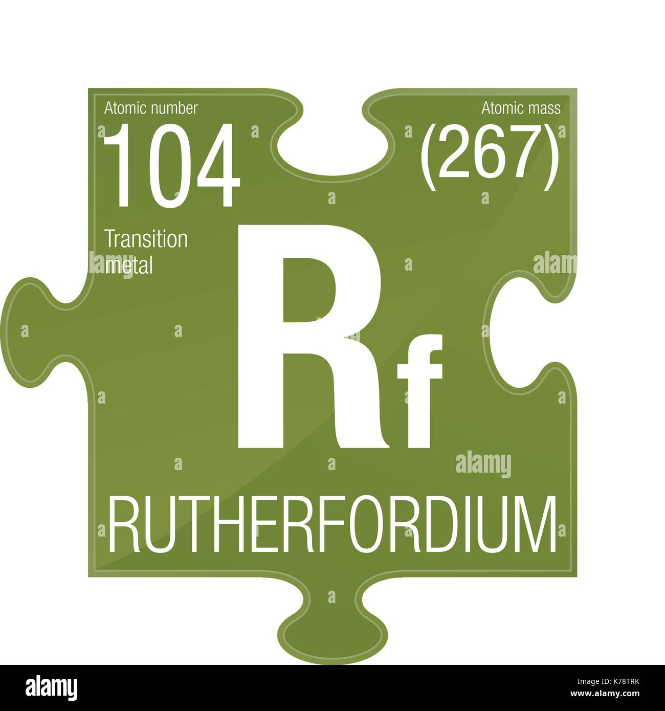 Rutherfordium symbol. Element number 104 of the Periodic Table of the Elements - Chemistry - Puzzle piece with green Stock Vector