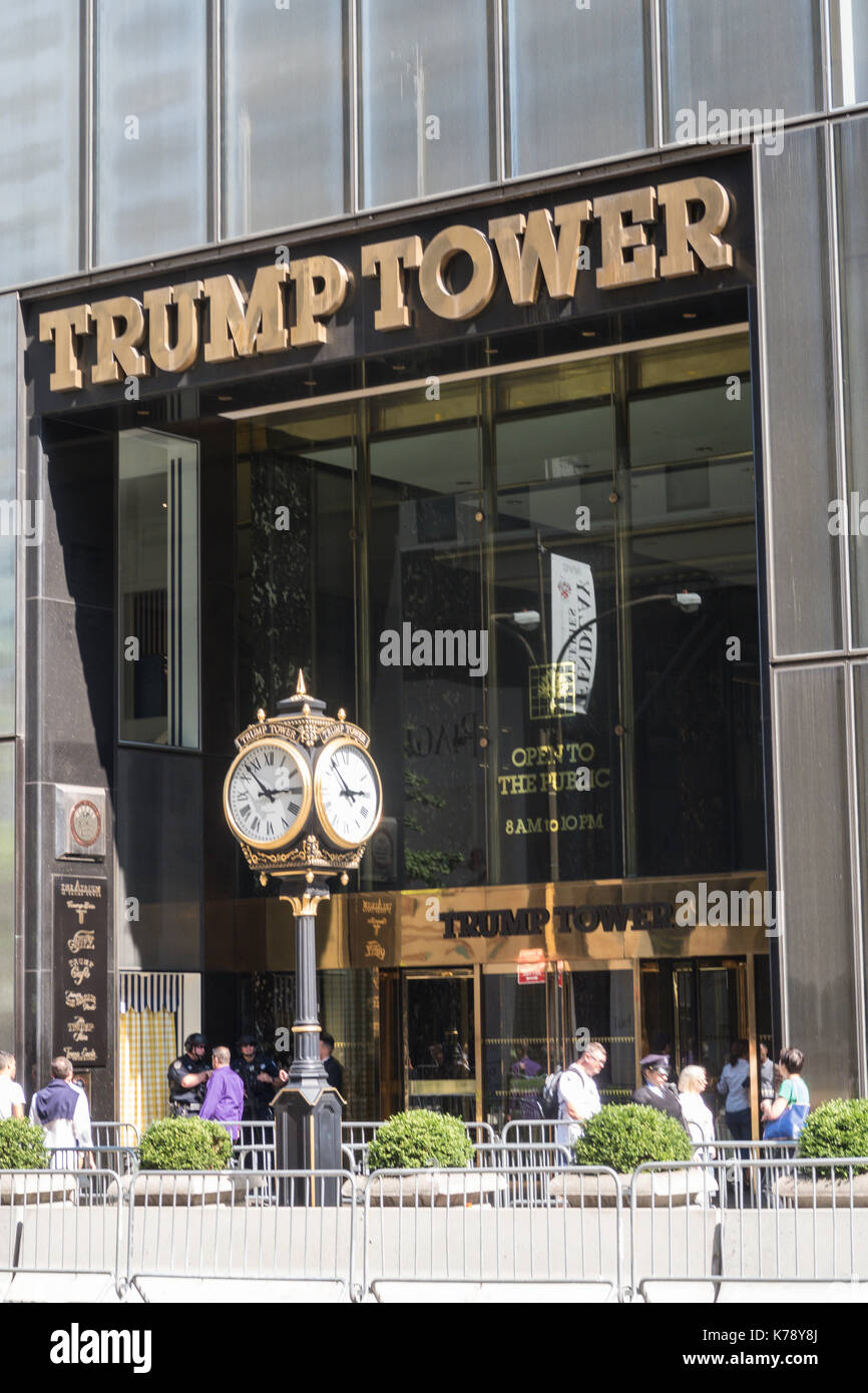 Trump Tower on Fifth Avenue, NYC, USA - Stock Image