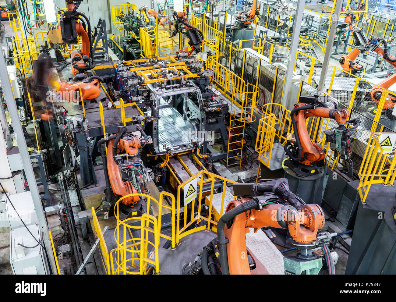 Modern car production line, is working in the robot - Stock Image