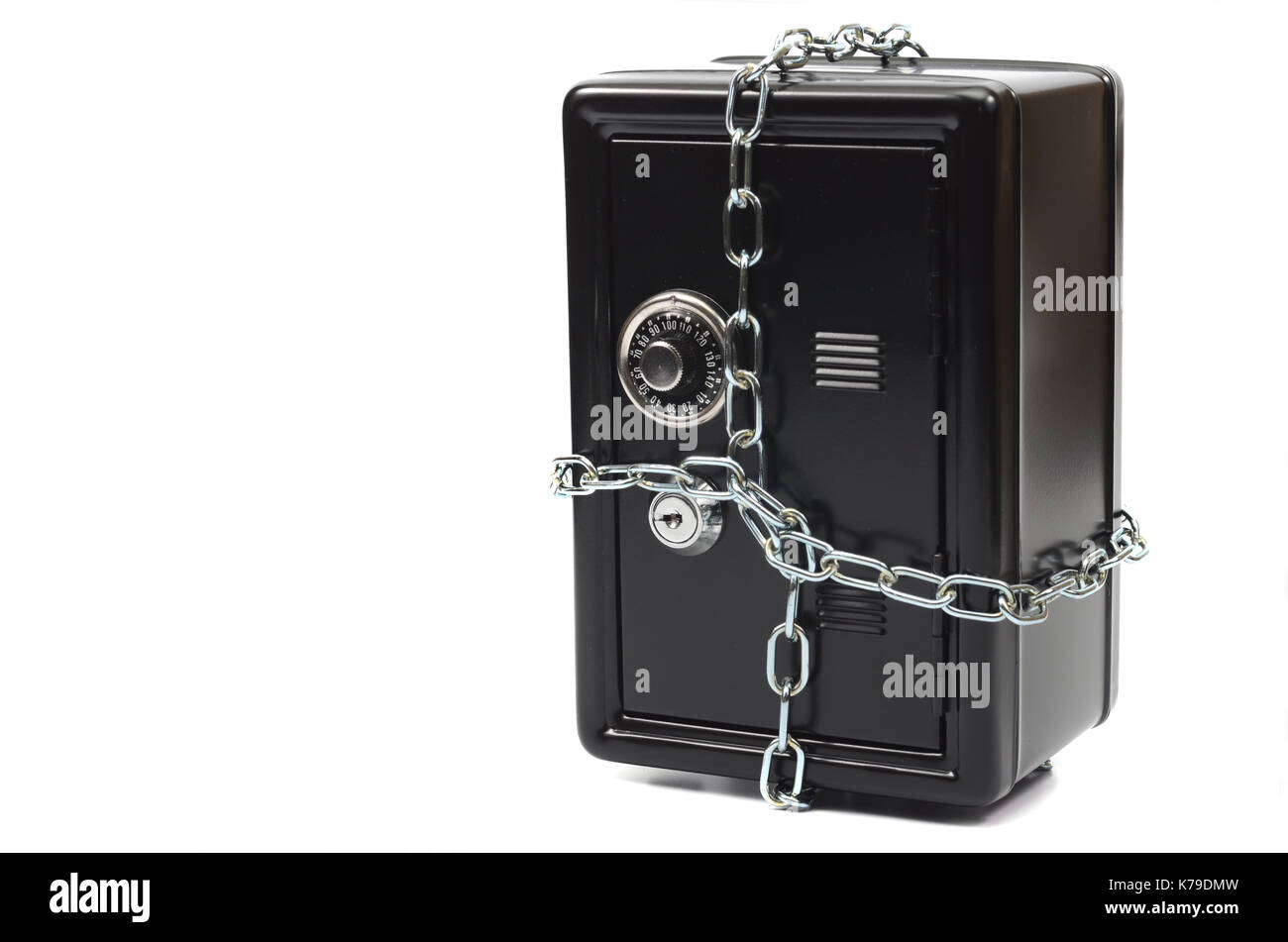 Saving your money , steel safe in chains over white background, money insurance concept - Stock Image