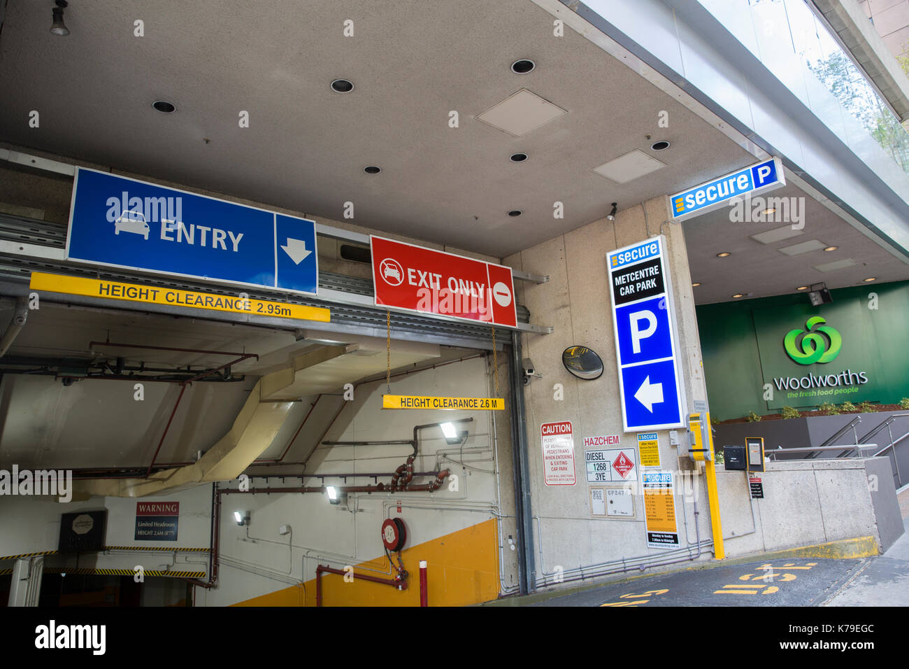 Secure car park operated underground parking for cars and motorcycles in Sydney city centre,Australia - Stock Image