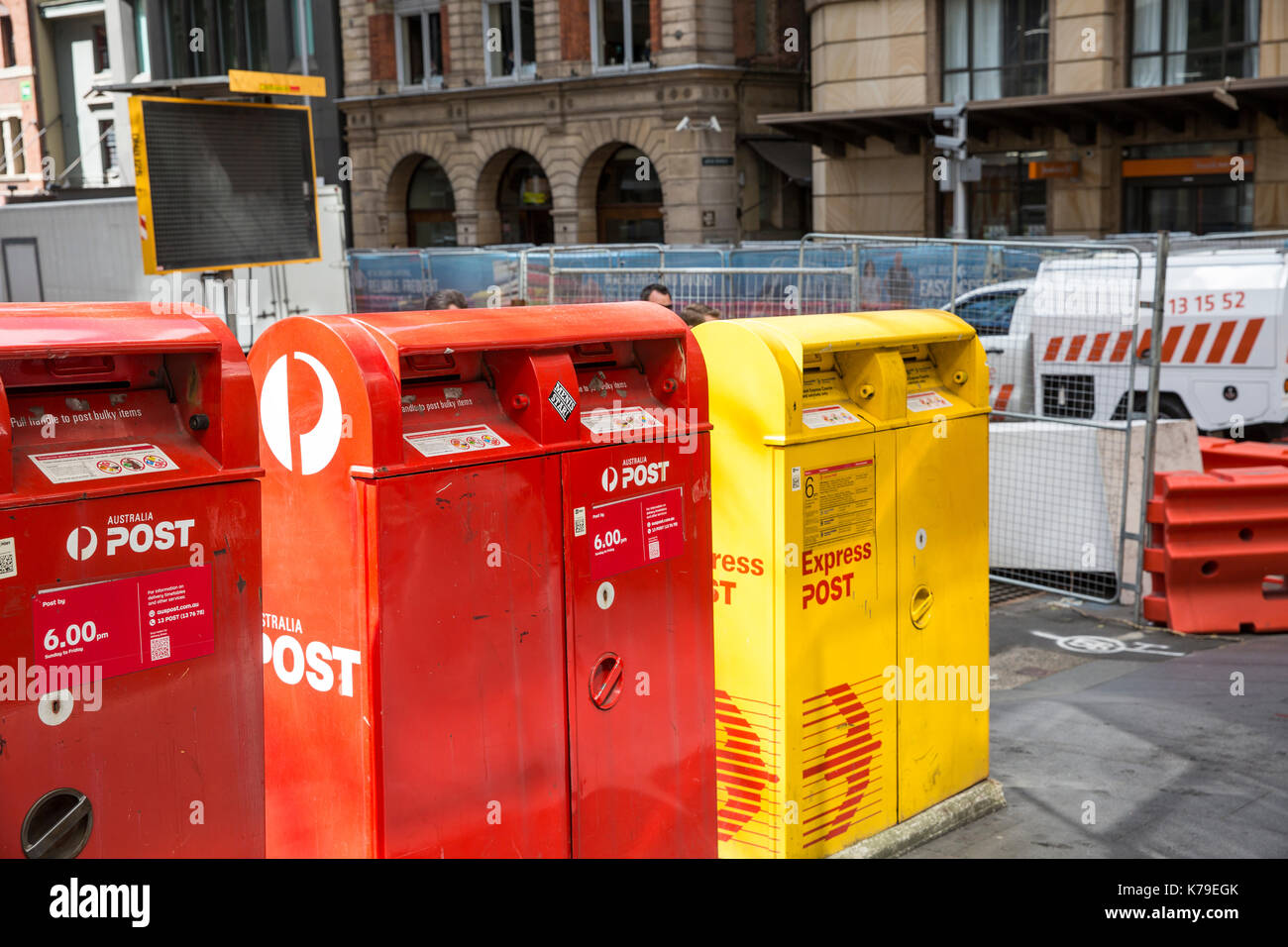 Australia Post mail letter boxes in Sydney city centre, the