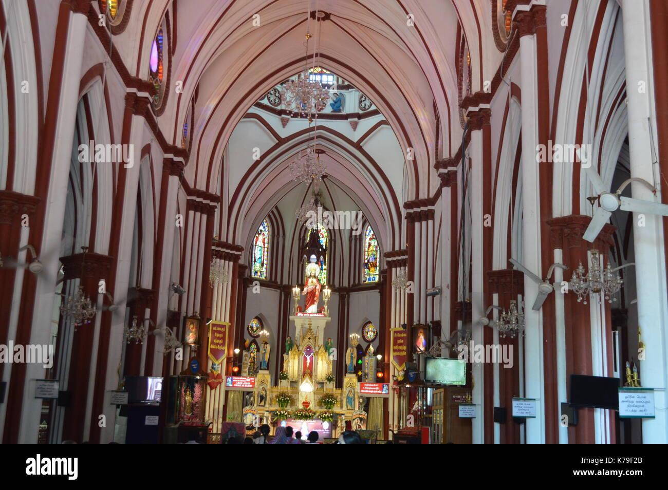Basilica of the Sacred Heart of Jesus, Pondicherry - Stock Image