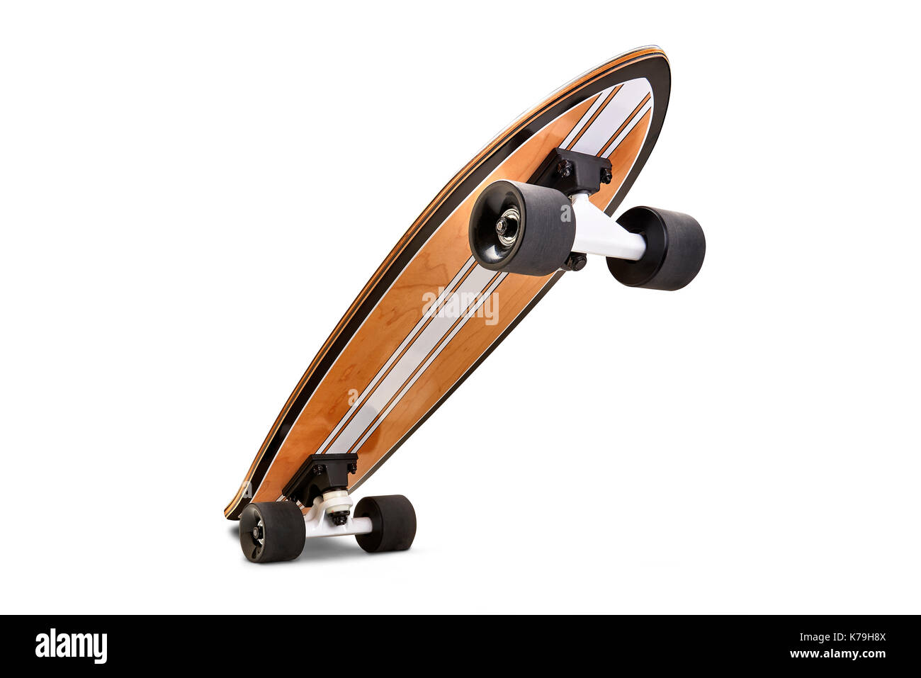 Black and wooden skate board isolated on a white background with clipping path - Stock Image