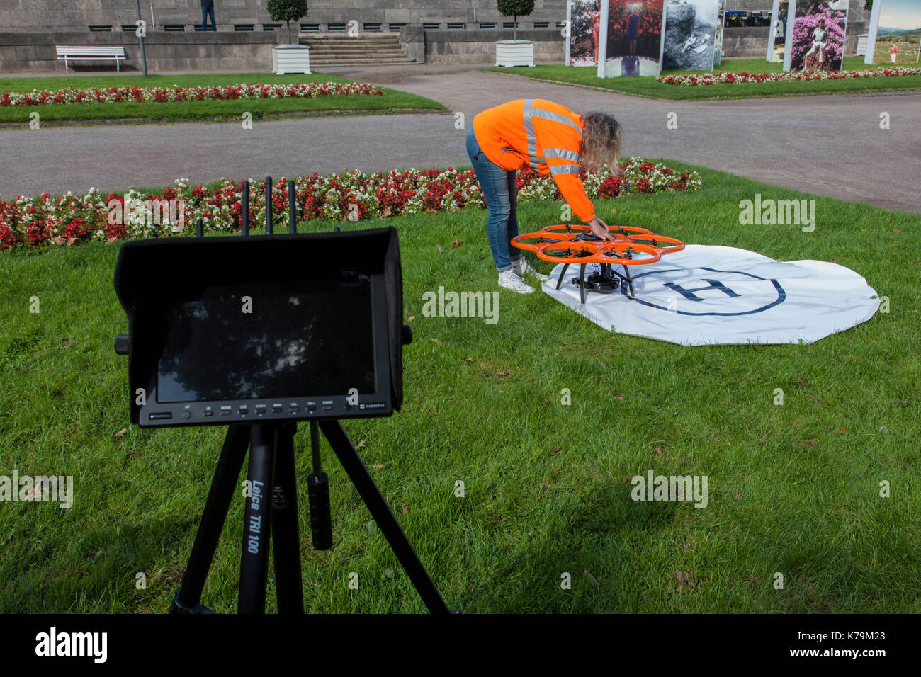 Surveying and Cadastre Office uses a drone for surveying - Stock Image