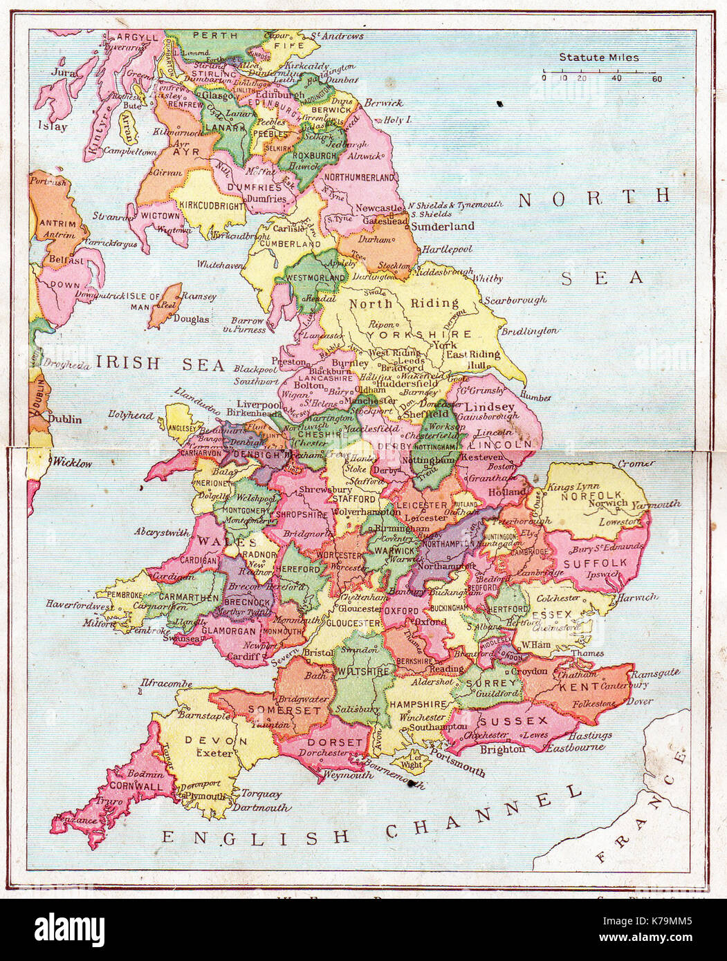 Map Of England Political.1914 Map Of England Political Southern Scotland Stock Photo