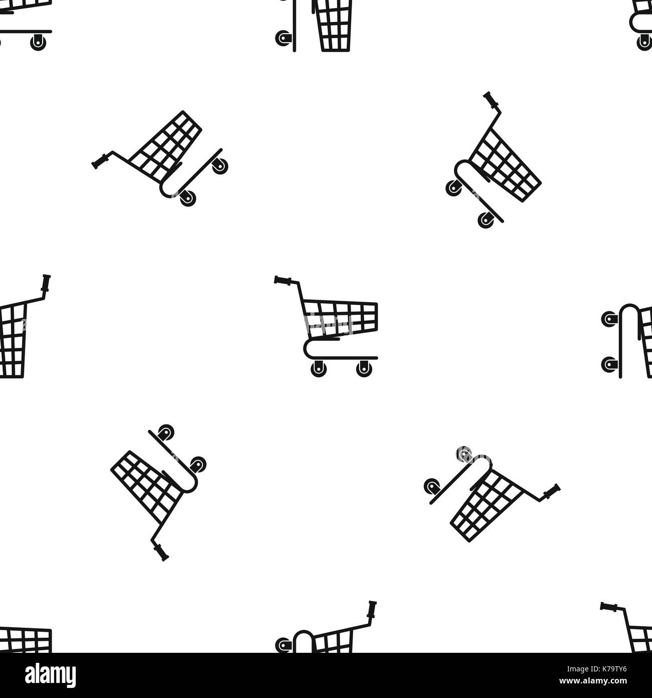 Shopping Cart Pattern Seamless Black Stock Vector Art Illustration Diagram