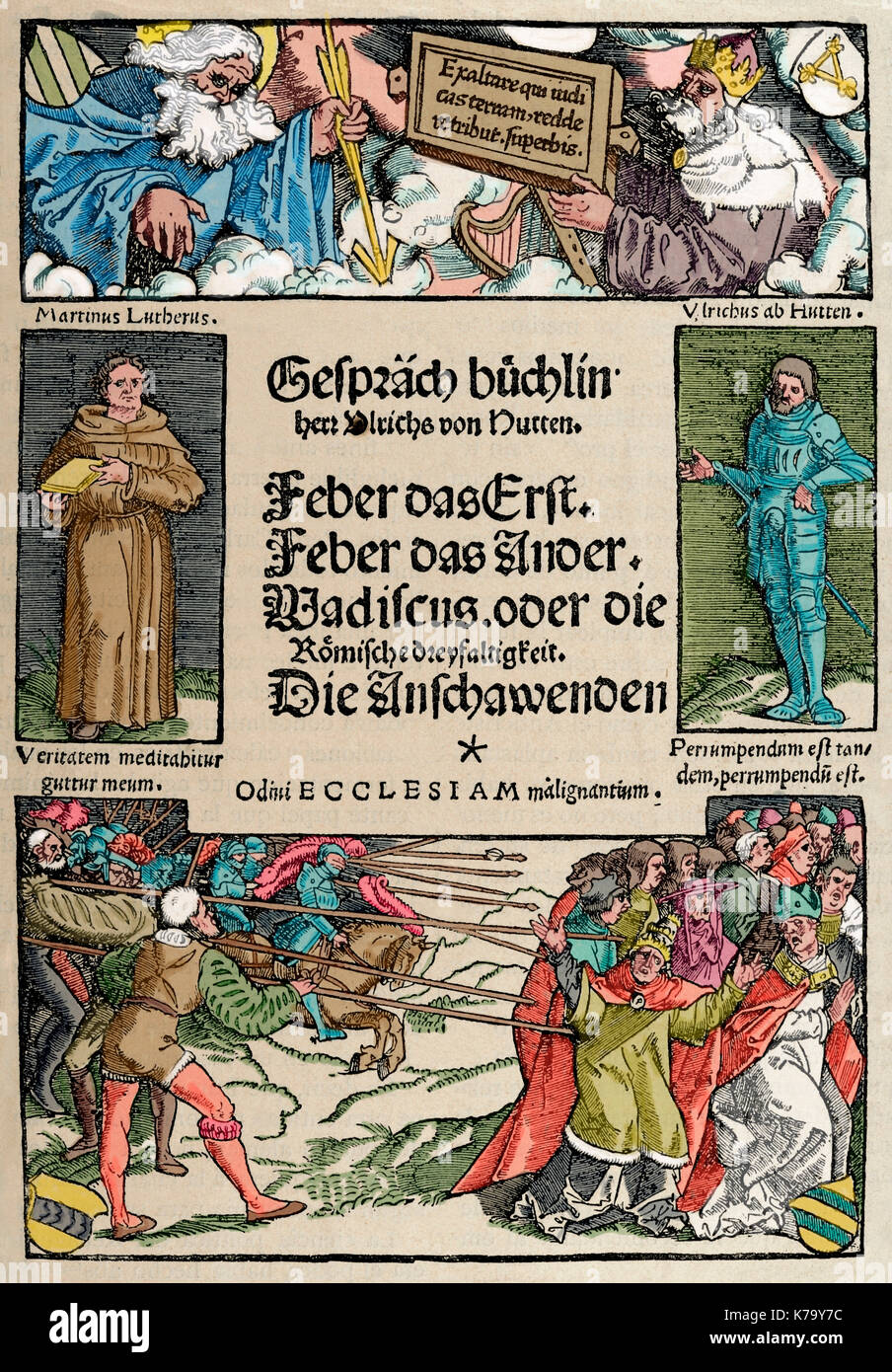 Ulrich von Hutten (1488-1523). German writer and theologian. Booklet of Conversations. Cover. Facsimile. Engraving in The History of Germany, 1882. Colored. - Stock Image