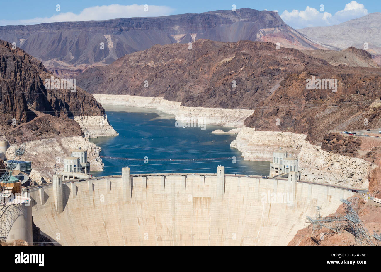 Boulder City, NV - 27 July 2016: The concrete wall of the Hoover Dam, major hydroelecric power plant and water storage Stock Photo