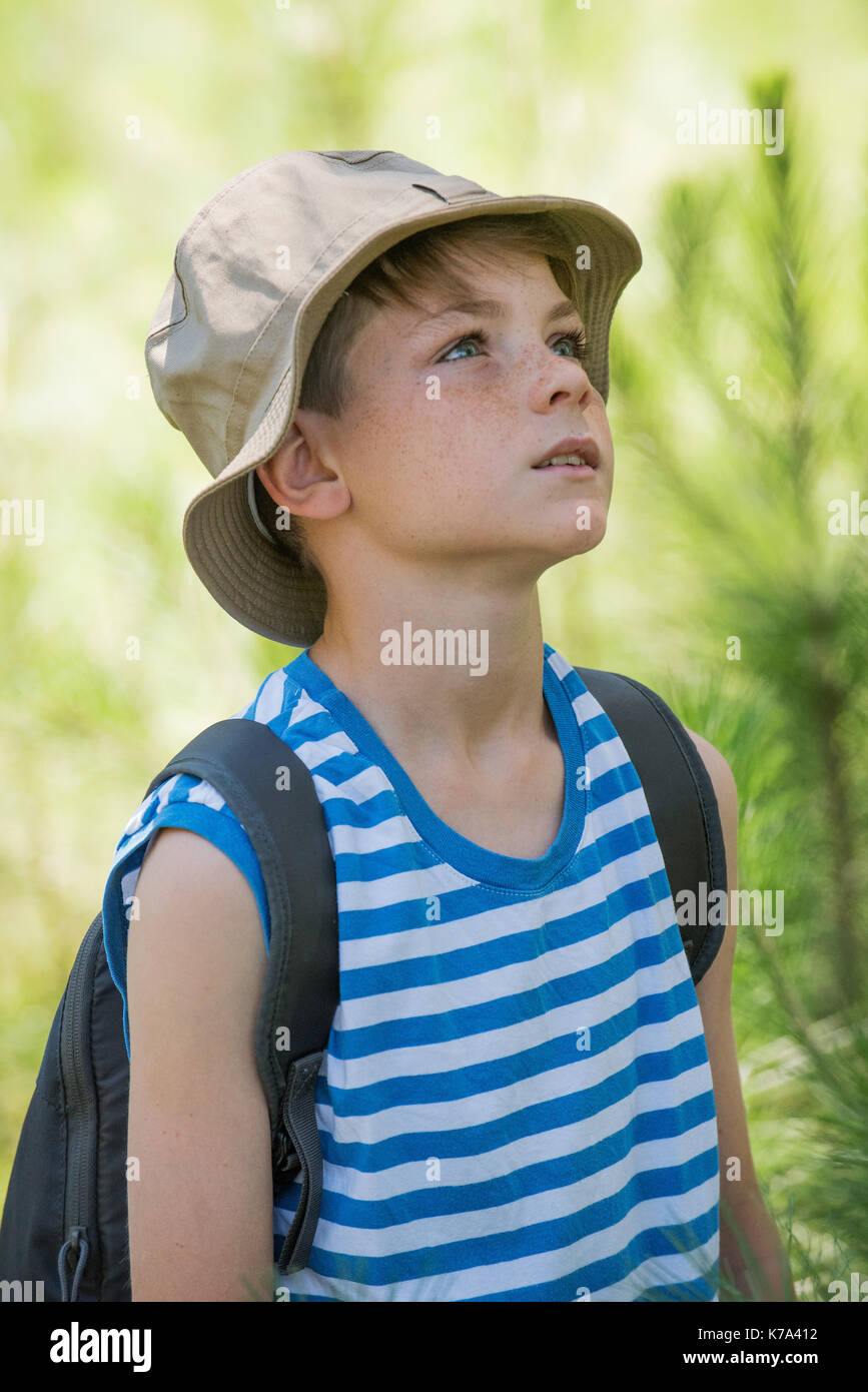 Boy outdoors, looking up attentively - Stock Image