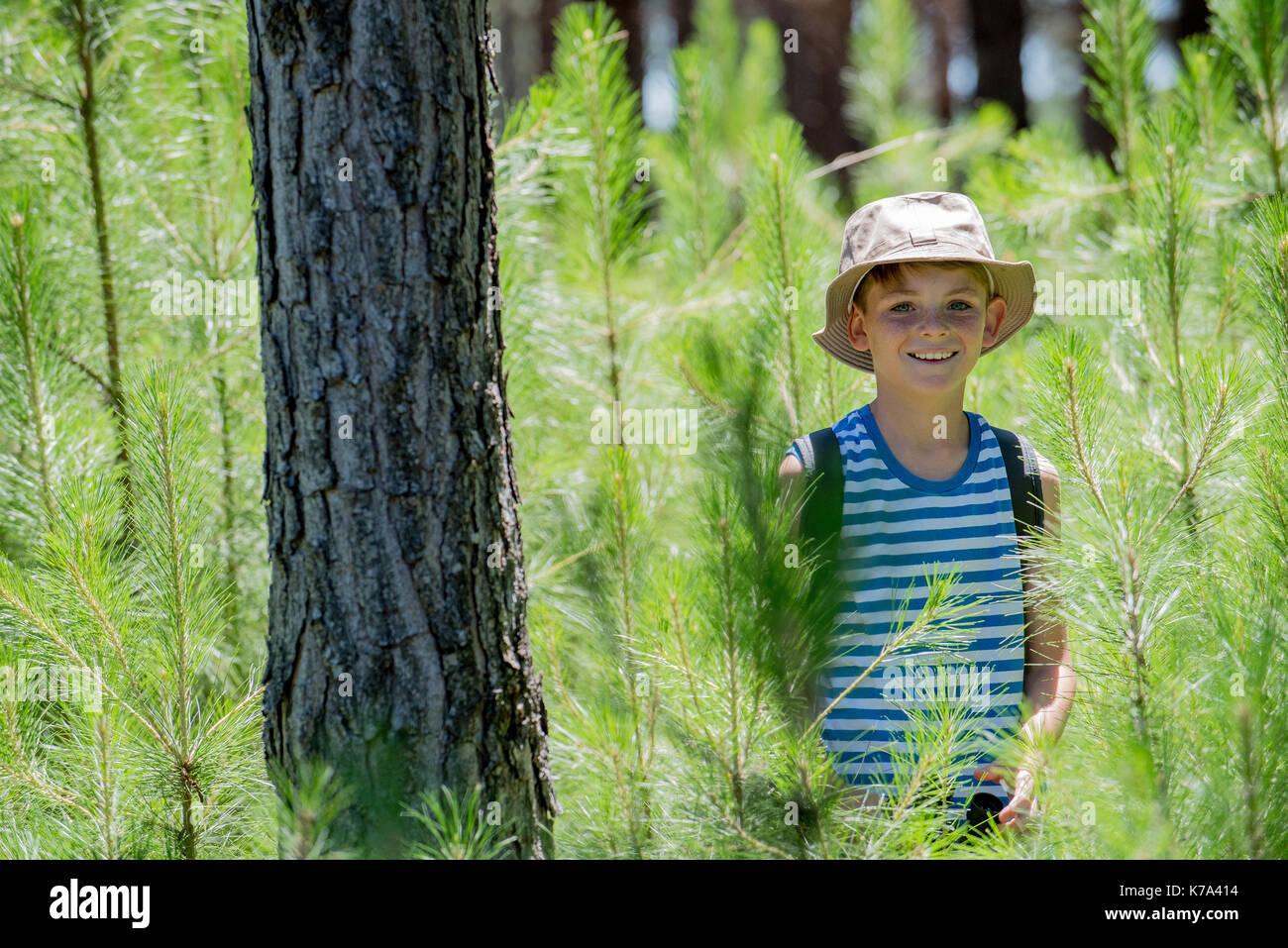 Boy hiking in woods, portrait - Stock Image