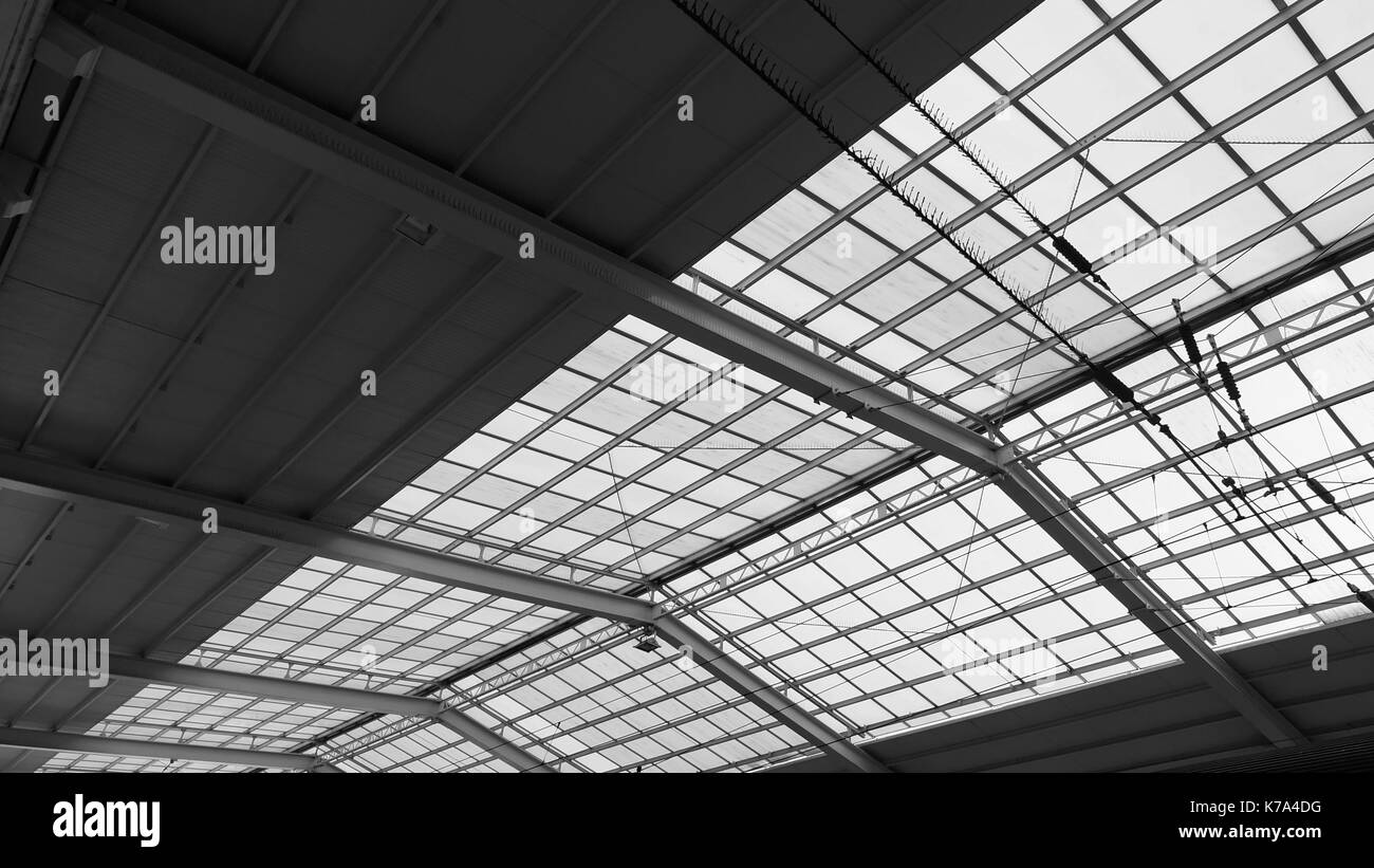 Zinc and semi obscure glass window roof - Stock Image