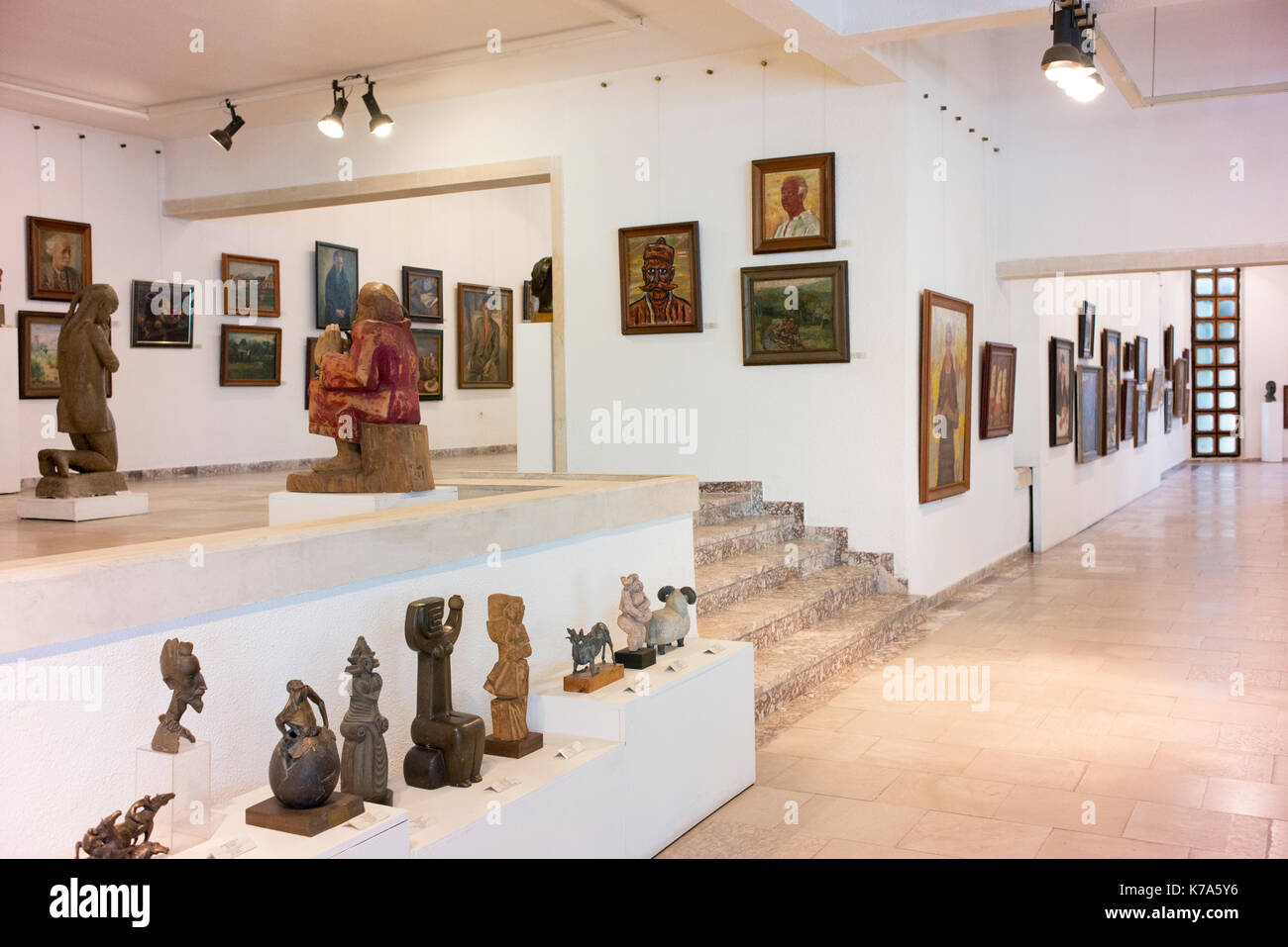 Various displays inside the Kazanlak Art Museum. - Stock Image
