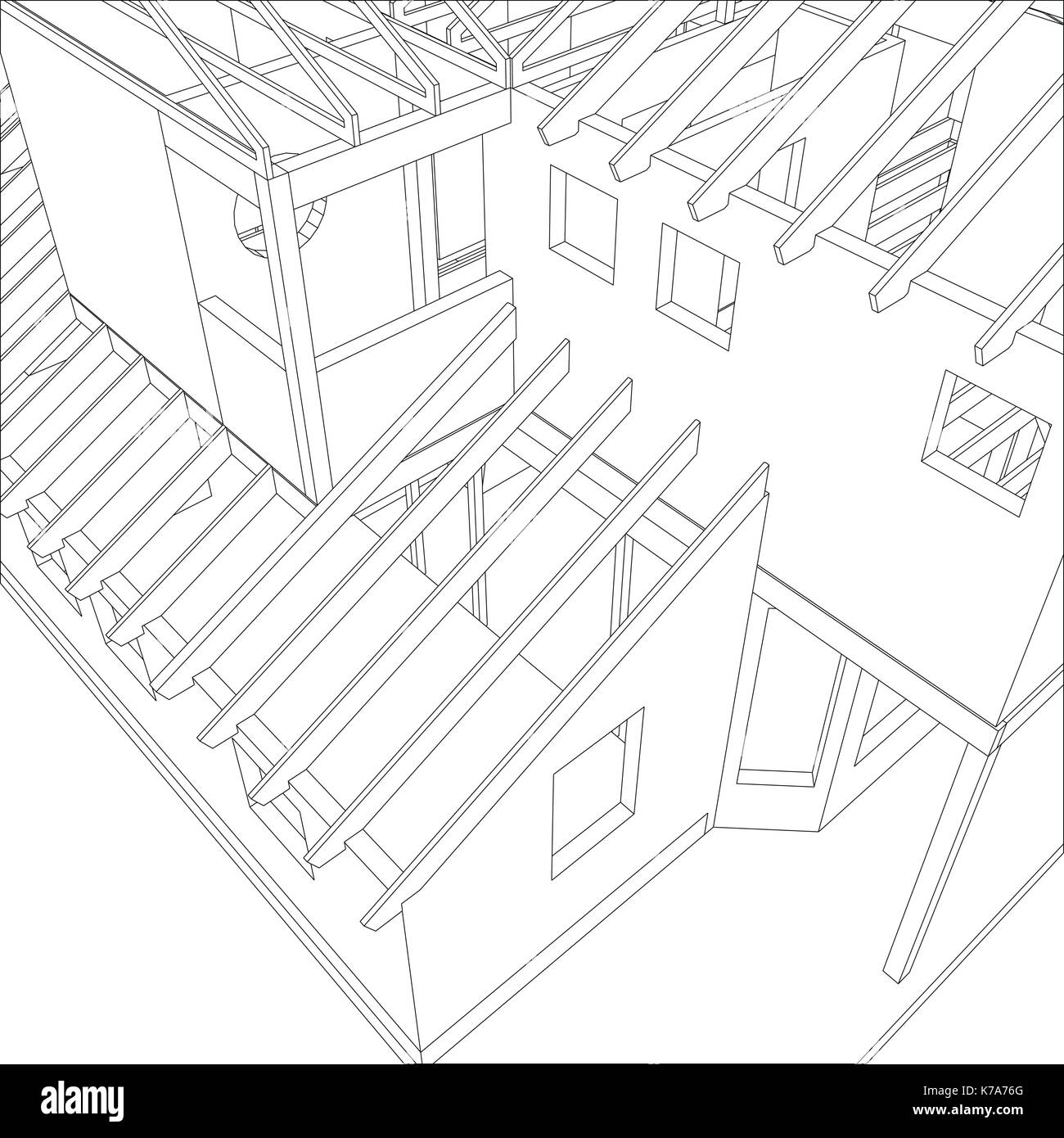 Abstract Architectural 3D Drawing Of Apartment House. Vector Created Stock  Vector Art U0026 Illustration, Vector Image: 159421096   Alamy