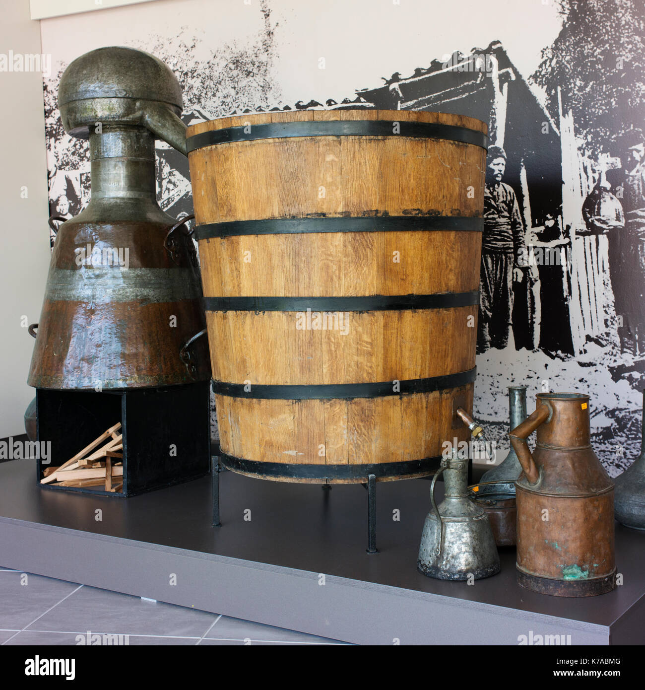 Equipment used for the distillation of rose oil on display at the Rose Museum in Kazanlak. - Stock Image