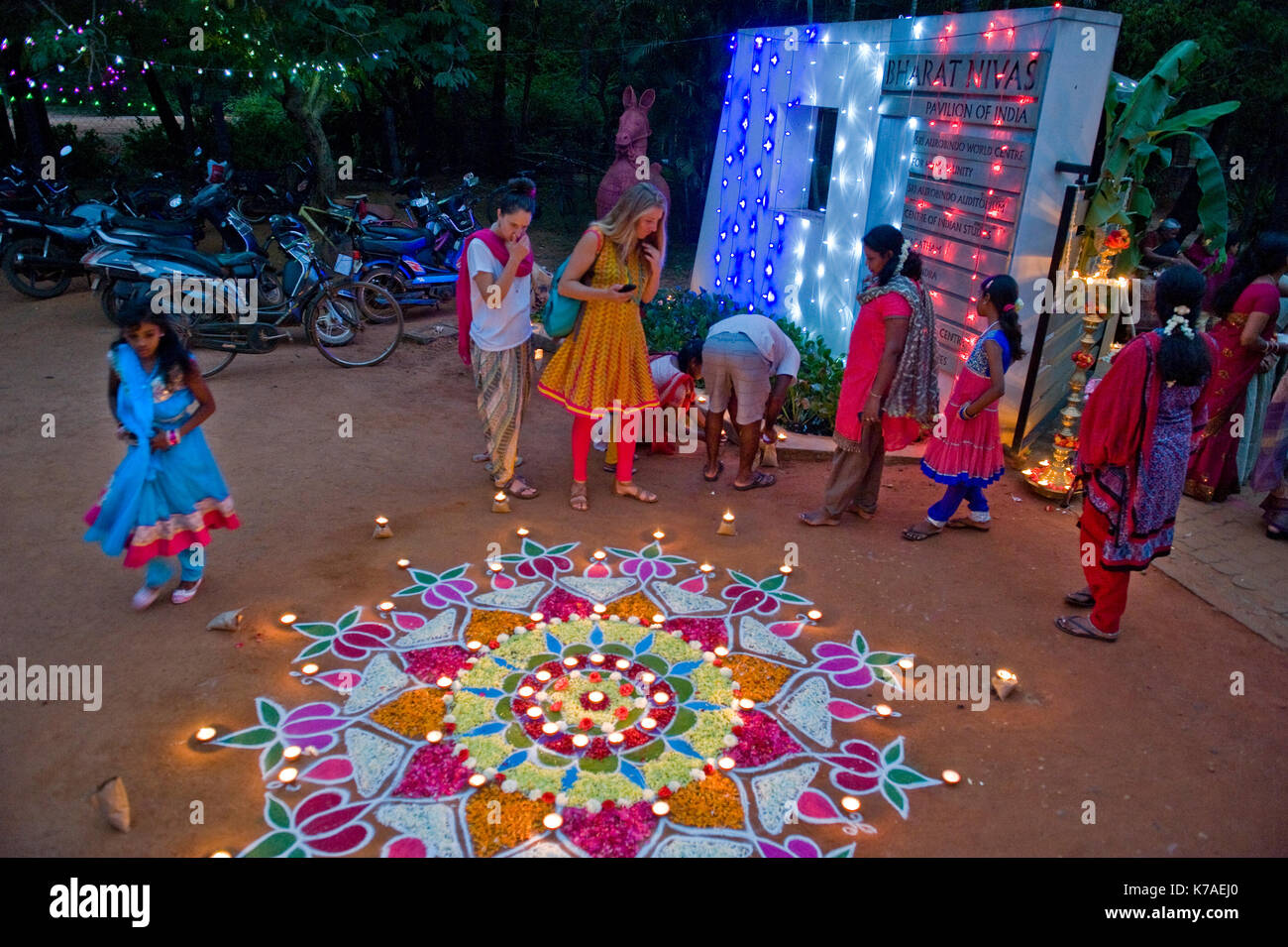 AUROVILLE, INDIA: Celebration of Diwali, the indian Festival of Lights - Stock Image