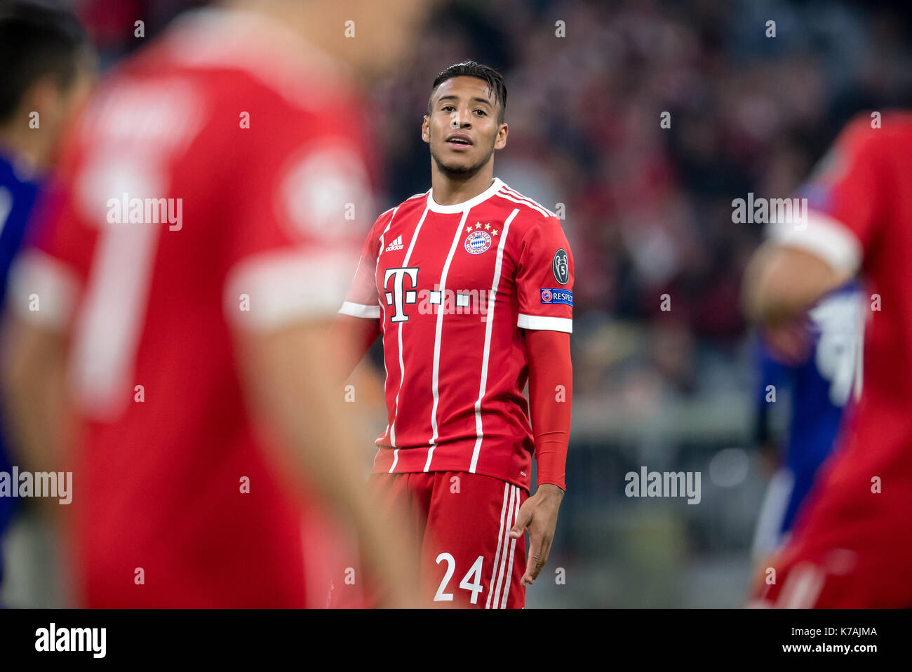 Munich's Corentin Tolisso pictured during the UEFA Champions League football match between FC Bayern Munich and RSC Anderlecht at the Allianz Arena in Munich, Germany, 12 September 2017.  - NO WIRE SERVICE - Photo: Thomas Eisenhuth/dpa-Zentralbild/ZB - Stock Image