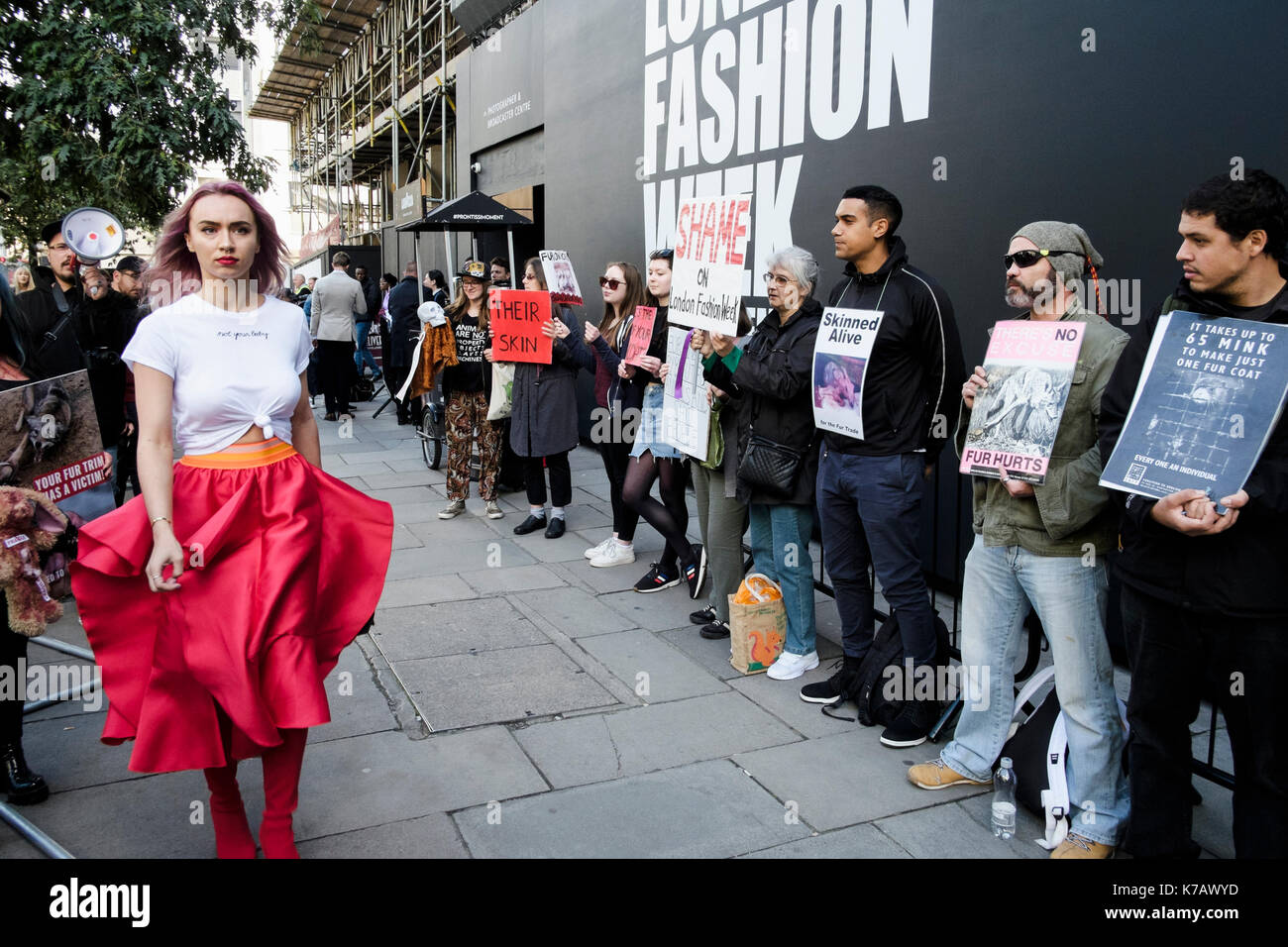 London, UK. 15th September 2017  Animal rights activists protest outside the venue for London Fashion Week at the use of animal fur in the fashion industry - Stock Image