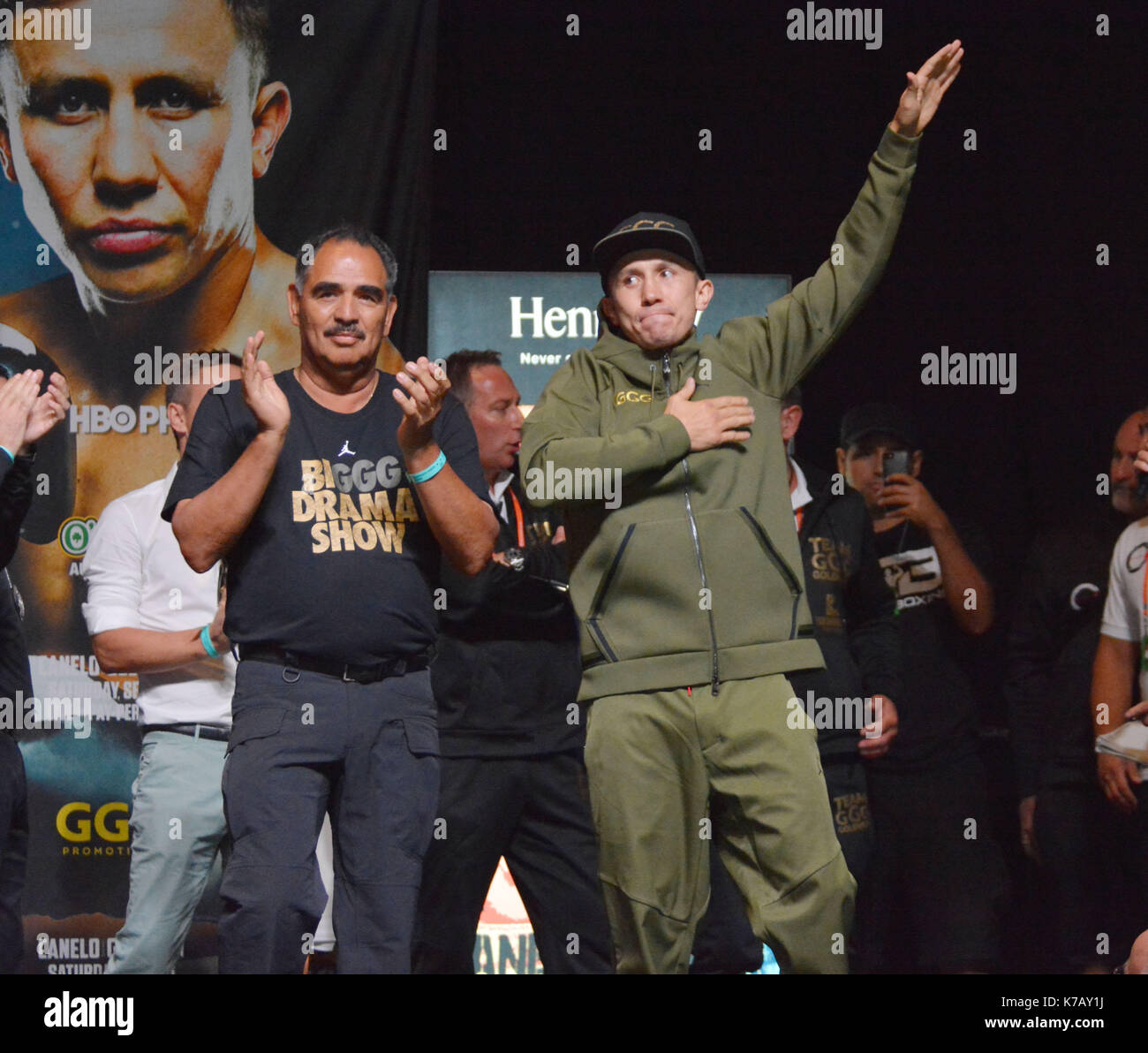 Las Vegas, Nevada, USA. 15th Sep, 2017. WBA, WBO, IBF and IBO Unified Middleweight Boxing champion Gennady Golovkin attends the weigh in ceremony for his championship bout against Canelo Alvarez on September14, 2017 at the MGM Grand Garden Arena in Las Vegas, Nevada Credit: Marcel Thomas/ZUMA Wire/Alamy Live News - Stock Image