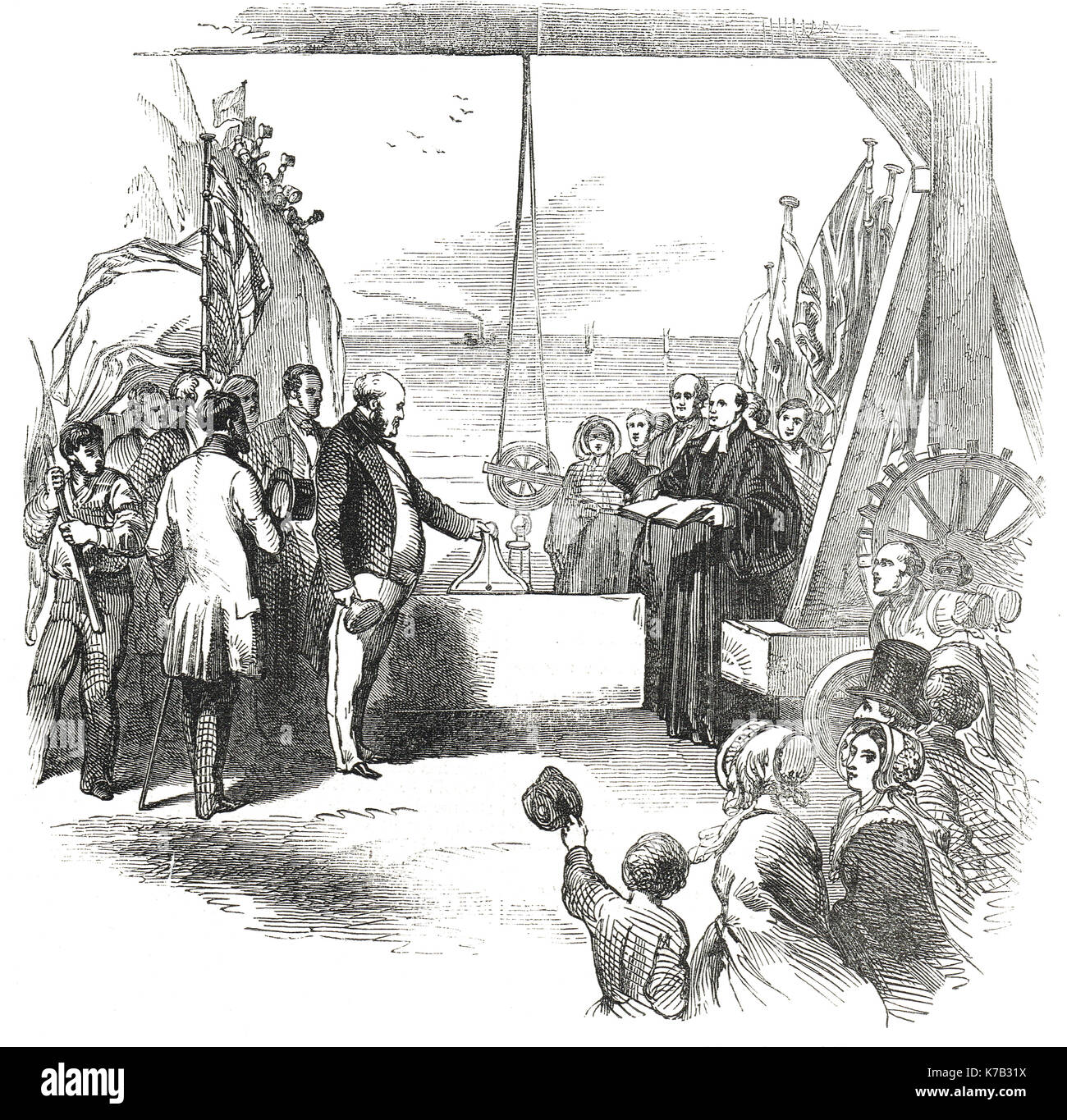 MP George Hudson laying the foundation stone at Sunderland Docks, 4 February 1848 - Stock Image