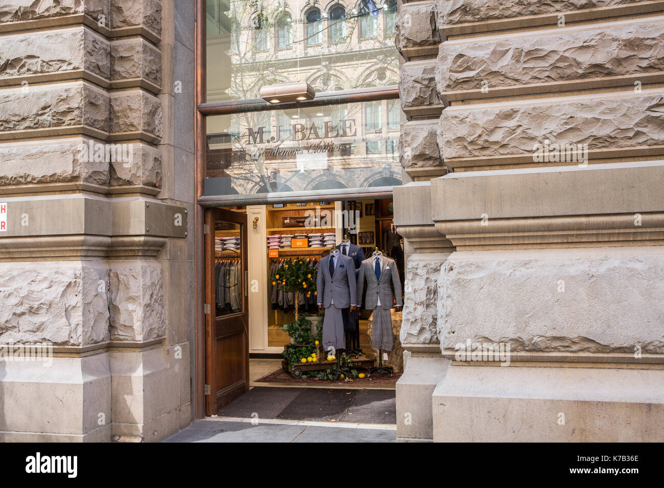 M.J.Bale mens outfitters and tailors selling mens business suits and shirts,Martin Place,Sydney,Australia - Stock Image