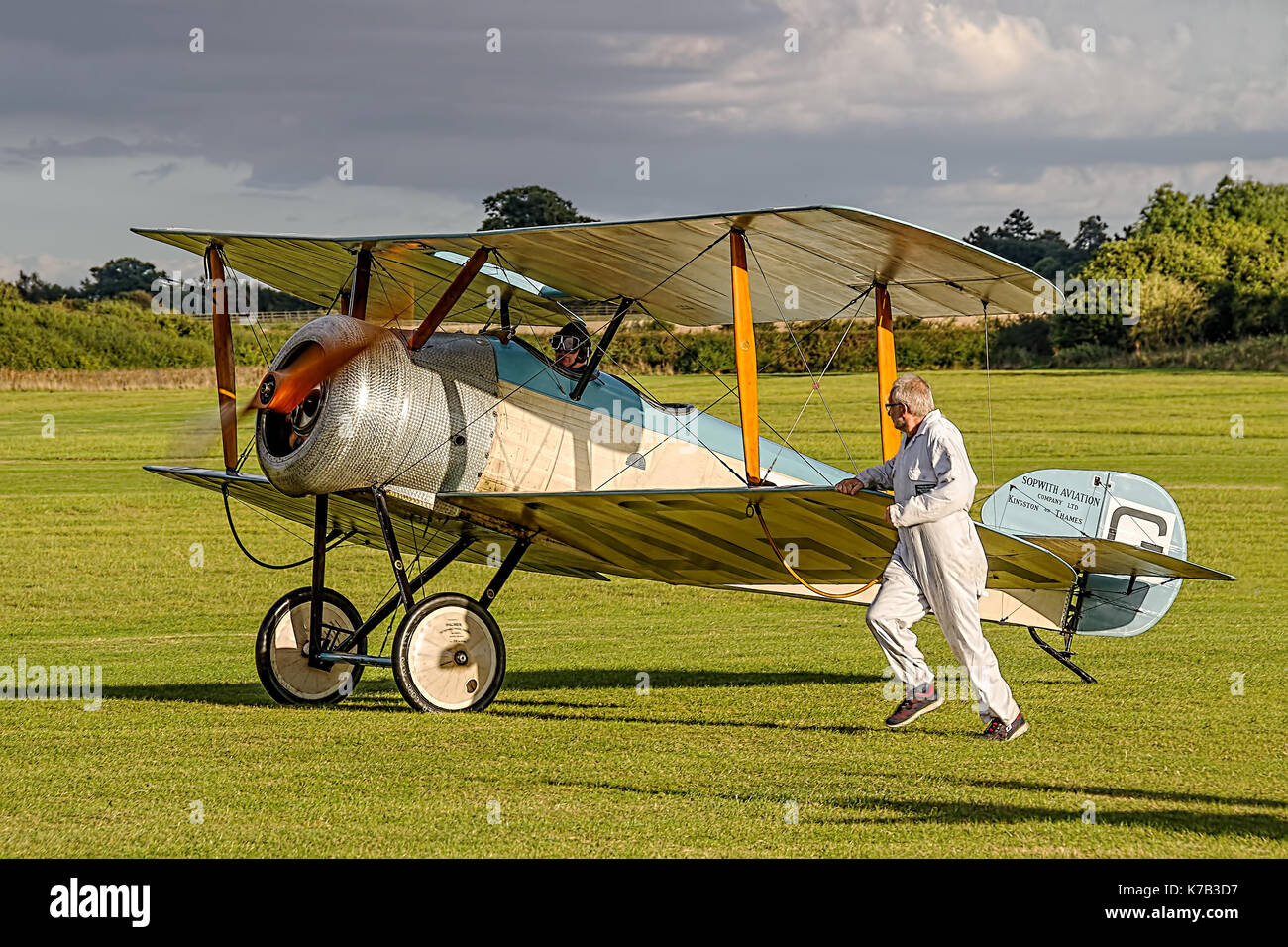 G-EAGA is a masterful reproduction of a 1919 Sopwith Dove by Skysport Ltd. The Dove was a civil two-seater developed from the Sopwith Pup scout of WW1 - Stock Image