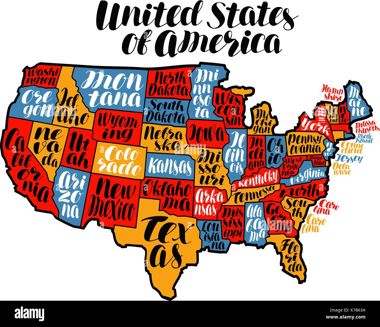USA map country, United States of America. Lettering vector illustration - Stock Vector