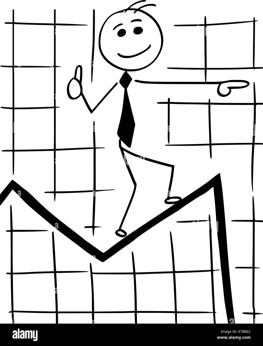 Cartoon stick man conceptual illustration of smiling business man businessman walking on graph chart line expecting great future and ignoring the near - Stock Vector